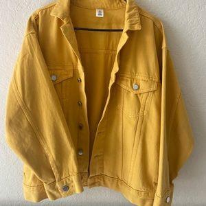 h&m yellow oversized denim jacket